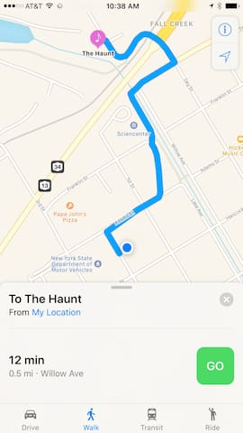 Safe and level 12 minute walk to Ithaca's premier live music venue and dance club, The Haunt.