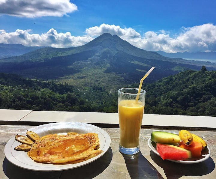 Exotic lunch with volcano and lake
