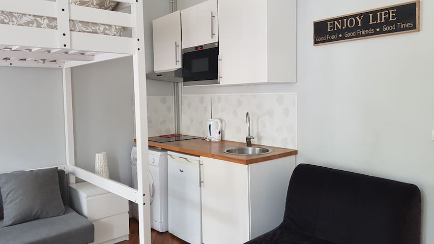 Kitchen to cook a diner or a breakfast : - microwave - kettle - 2 induction baking sheets - Hood - washing machine - fridge