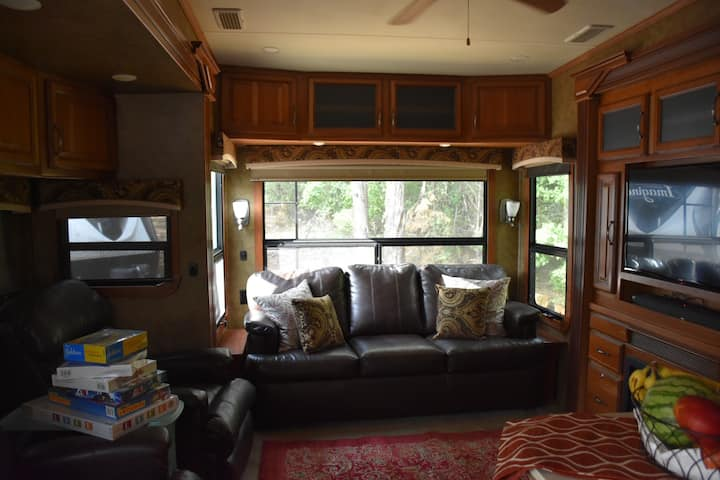 Country views from a luxury fifth wheel....
