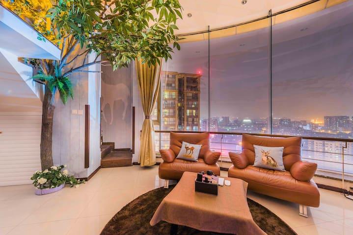 宽窄巷子LOFT复式森林风超大景观大床套房 - Chengdu - Appartement