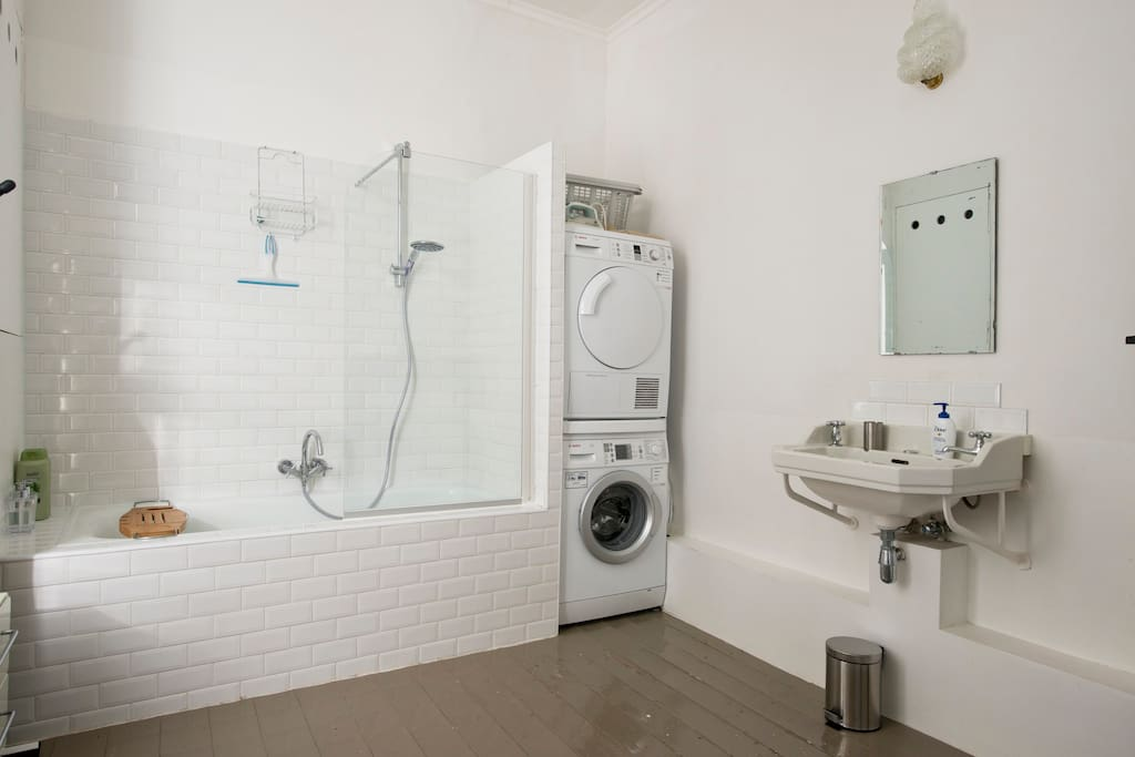 The bathroom, with shower, bath, washer and dryer