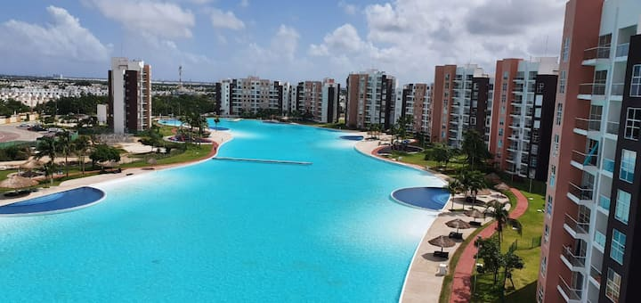 Beautiful view of the lagoon in Cancun, 3 rooms