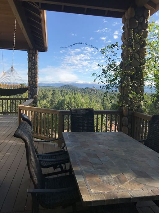 Deck areas includes dining table, double rocker and hammock in addition to those unbelievable views (Photo shared by one of my guests)