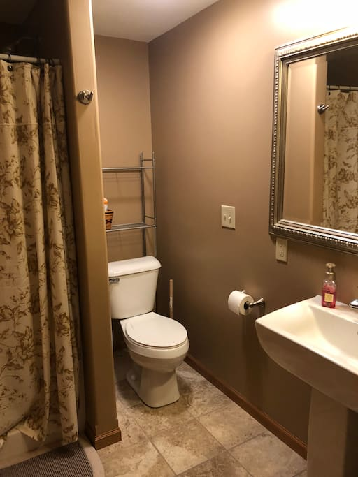 Downstairs bathroom and shower.