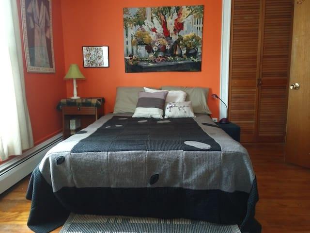 Bedroom #3, double bed, with handmade fleece blanket