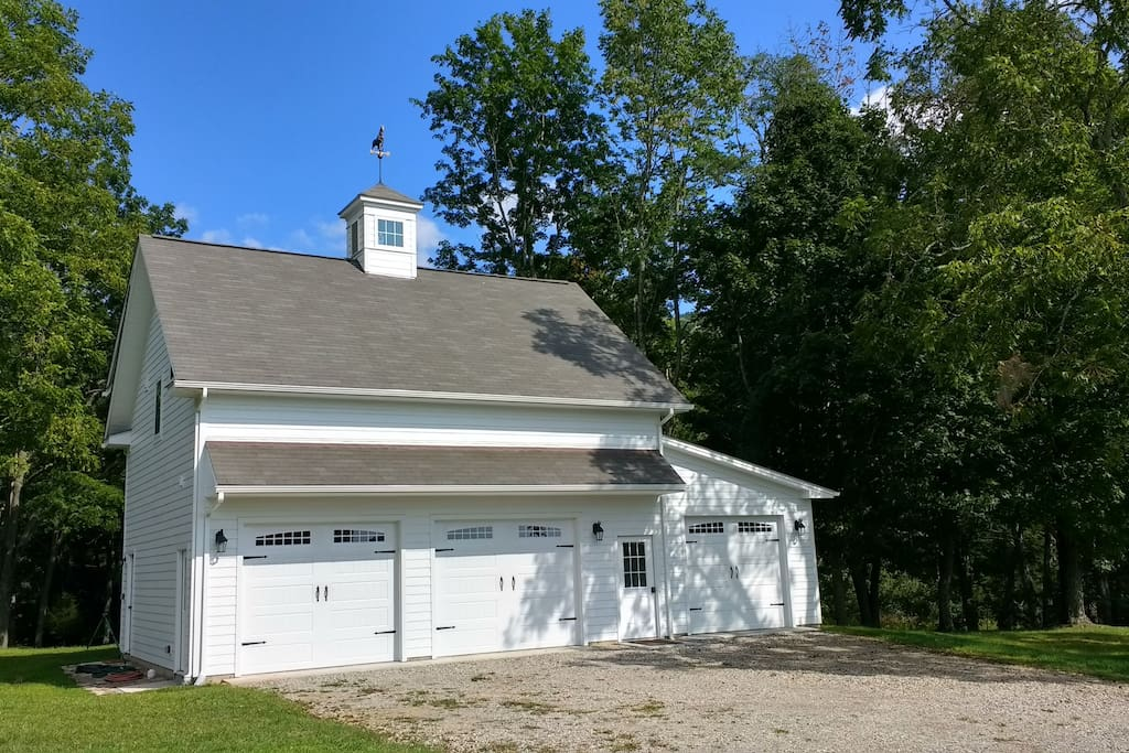The front of the Carriage House.  The guest quarters look out the back towards the woods and over the creek.