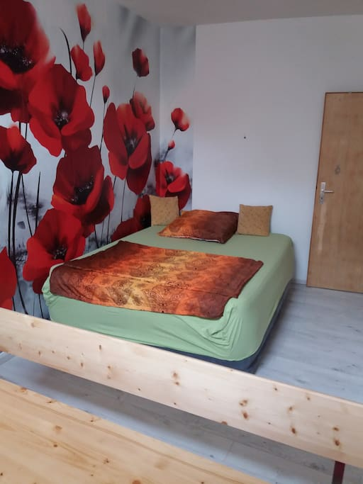 Airbed with flowerwallpaper