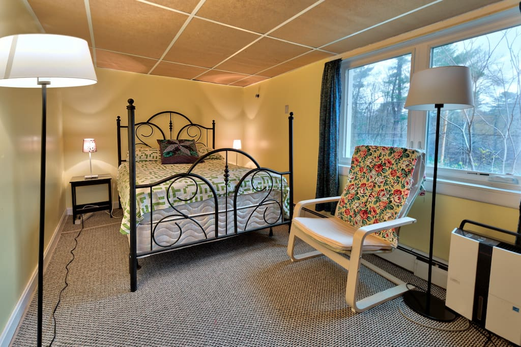this is the bedroom for this listing - small, cozy, double bed, closet