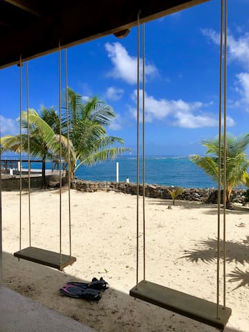Swings to enjoy while looking out over the beautiful Caribbean and close-by reef...