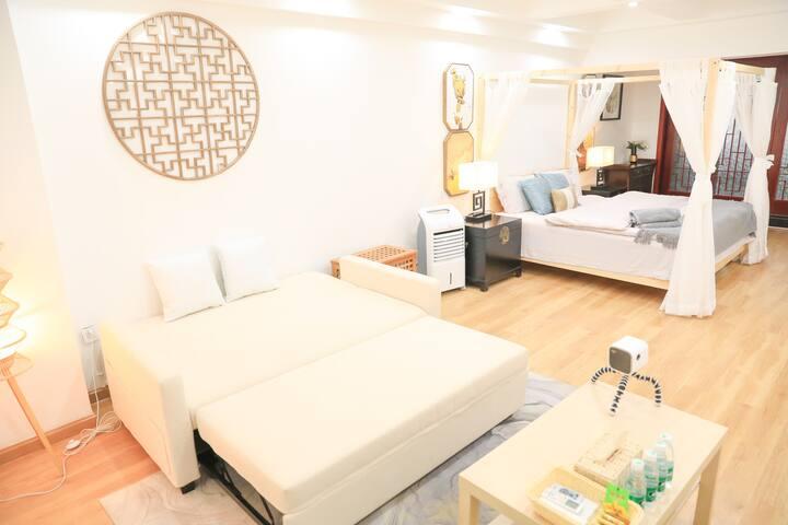 1.8m大床+1.5m沙发床!性价比+舒适度