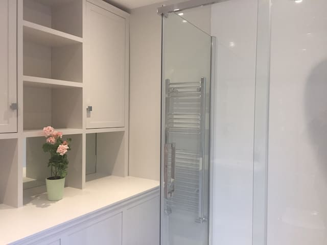 A brand new spacious, bright and modern guest bathroom.