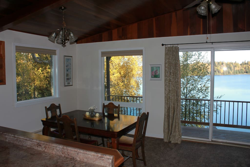 The large dining area has a commanding view of the lake