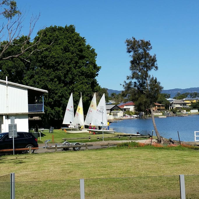 This is the sailing club at back of property