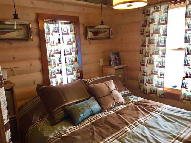 Bedroom with queen bed, closet