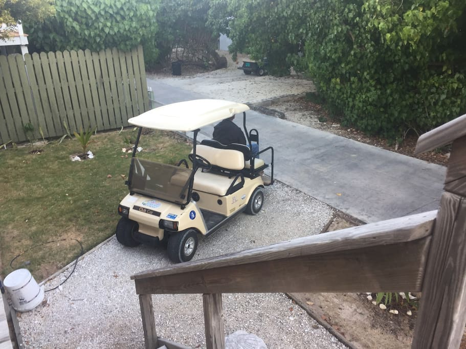 Electric Golf Cart with charger included in rental.