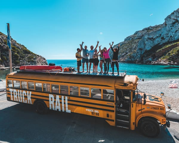 American School Bus on the beach