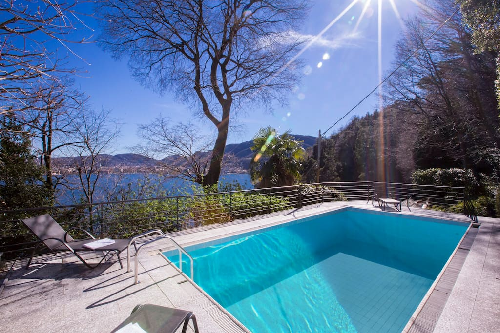 Private swimming pool with view of Como center