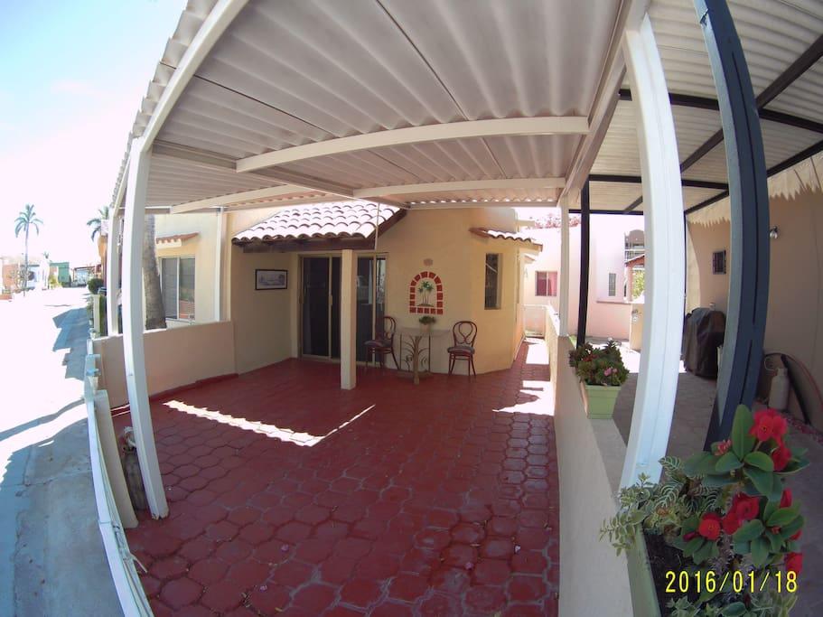 Large enclosed patio area
