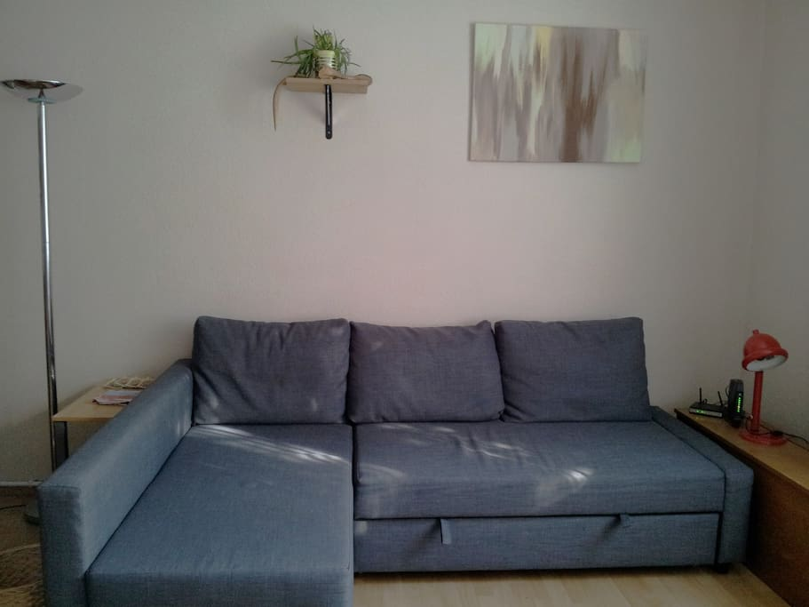 Comfy retractable sofa with room for two to sleep on comfortably