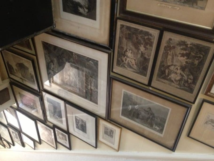 Our antique prints line the stairs