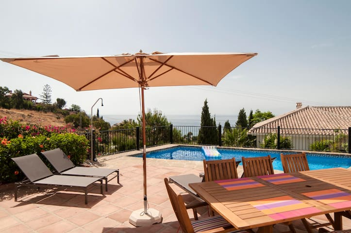 Large terrace with private pool, 4 long chairs and 2 deck chairs