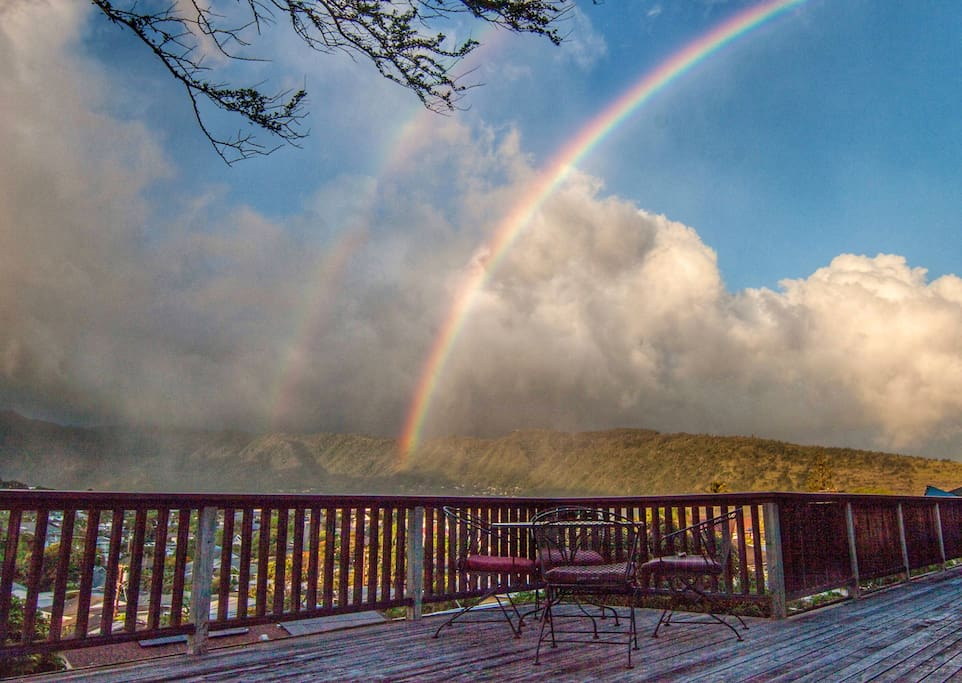 Our back lanai might make you sick of rainbows!