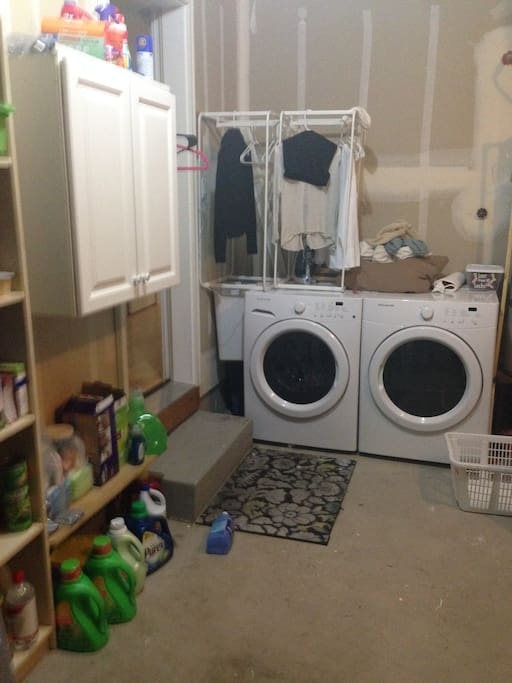Washer and dryer. Please bring your own HD Efficiency washer tablets/detergent.