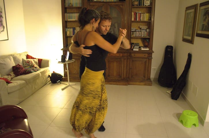 During a dinner in my home with a guest. Tango