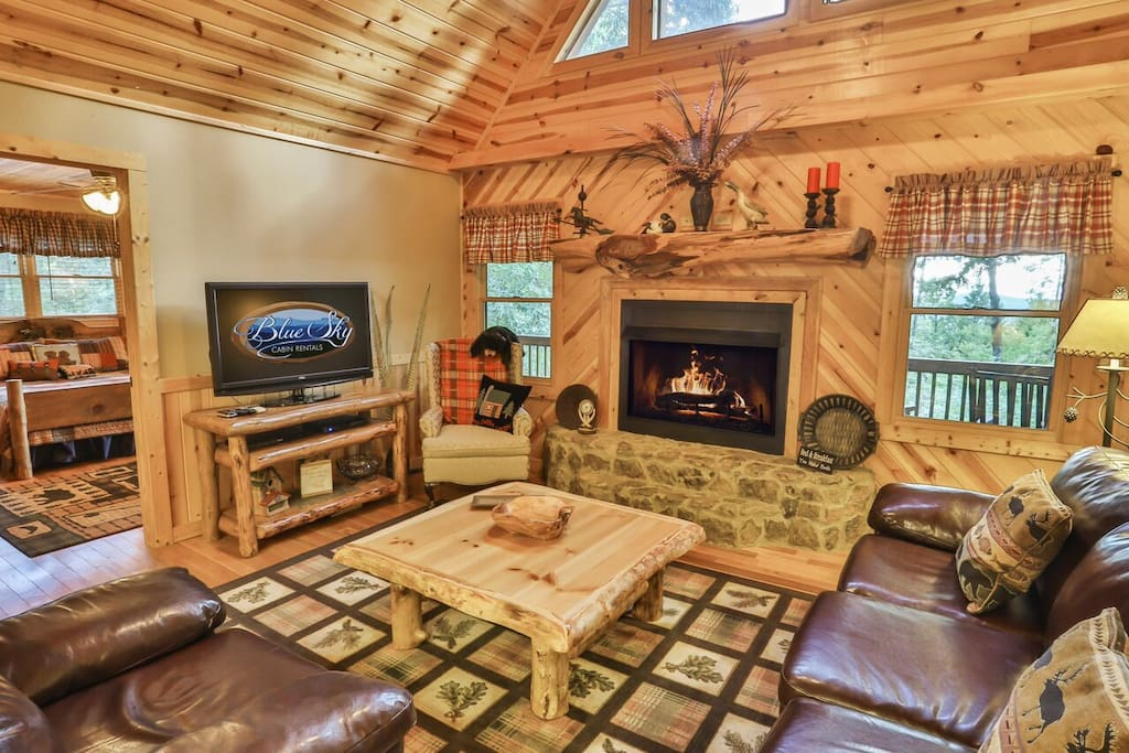 Large cozy living room with gas fireplace