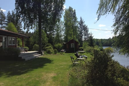 Idyllic country house, pier and beach at the river - Ringerike