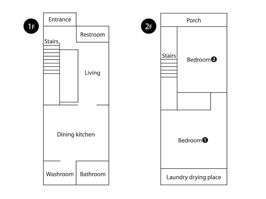 Living, dining kitchen, two bedrooms