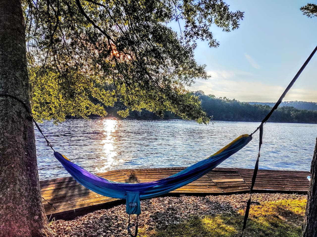A hammock for two is perfect to rest and relax —  enjoy the cool breeze off the lake — it's the perfect way to end the day!