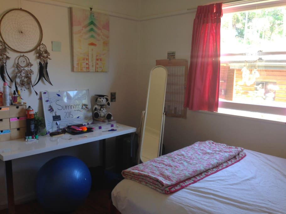 Double bed, desk, storage cubicles and clothes rack.