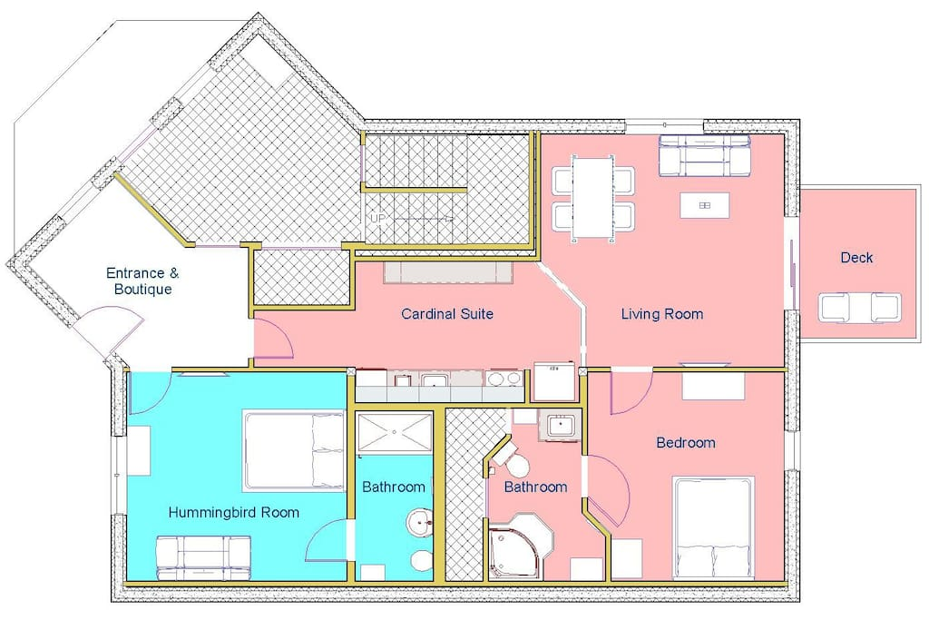 Guest floor layout with Cardinal Suite highlighted in red.