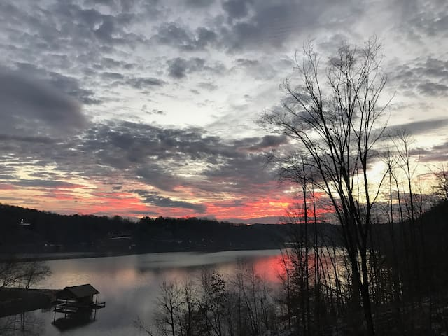 Apartment's view during winter on Smith Mountain Lake at sunrise