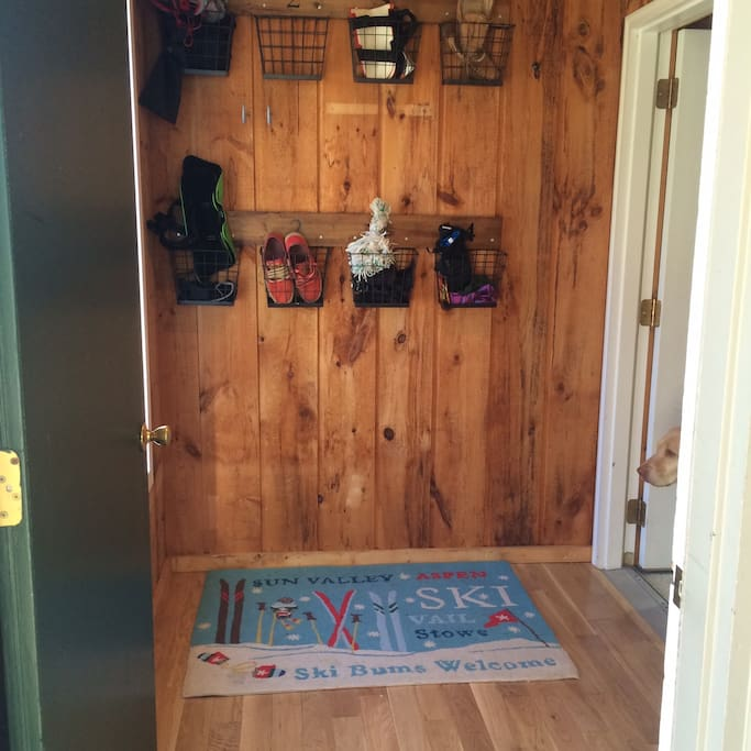 Clean entryway with new hardwood floors and plenty of room.