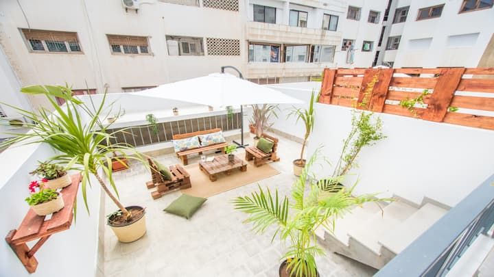 🌴JUNGLE STYLE 1 BR +STUNNING PATIO - RABAT AGDAL
