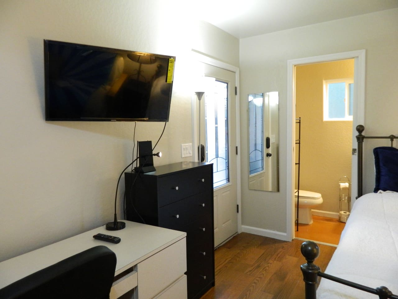 Your private entryway into your private bedroom with your own private bathroom.