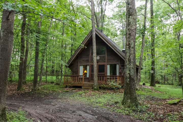 Cozy woodland cabin w/ deck - close to the lake, golf, trails, and ski slopes!
