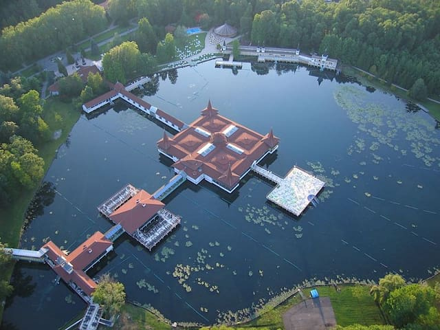 Общий вид на термальное озеро Хевиз