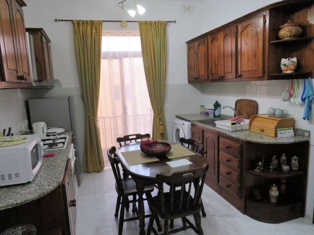 You have a kitchen/dining area fully equipped with all the cooking facilities necessary to cook yourselves and enjoy healthy meals to your  personal liking