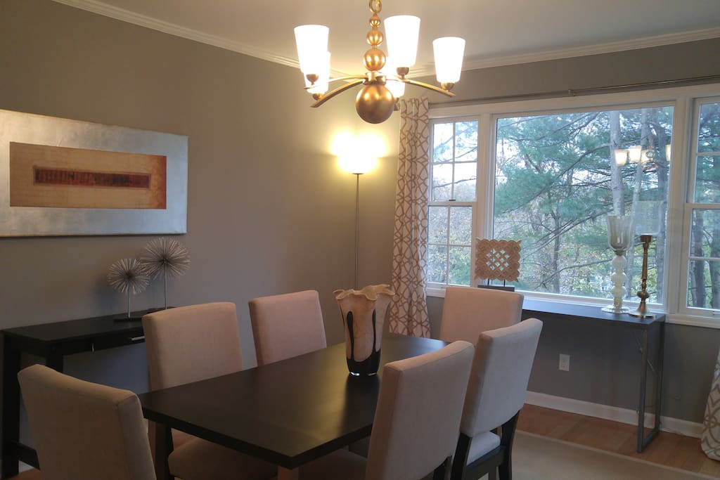 Dining room. Seats six. Extra fold up table and seating available.