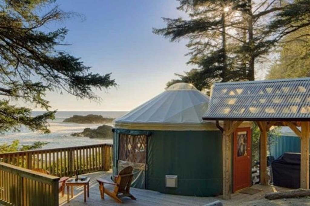 All yurts come with their own cedar deck and patio furniture so you can relax in the outdoors