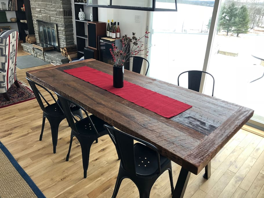 Make some memories over home cooked meals on this beautiful, handmade farm dining table for 8