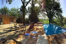 Surrounded by centuries-old oaks, olive groves and meadows, the stone farmhouse lies in the Chianti hills within 40 km (25 mi) of Florence and Siena. The villa has been completely renovated in 2016