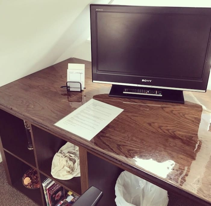 Desk space with TV