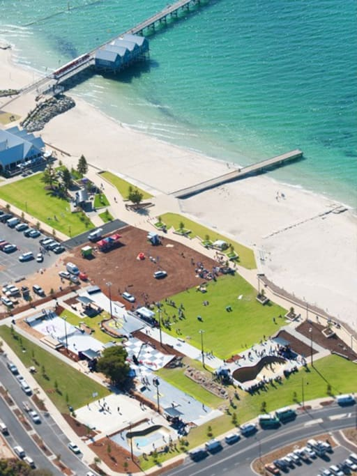 Busselton foreshore area with new skate park ideal for children of all ages and ability