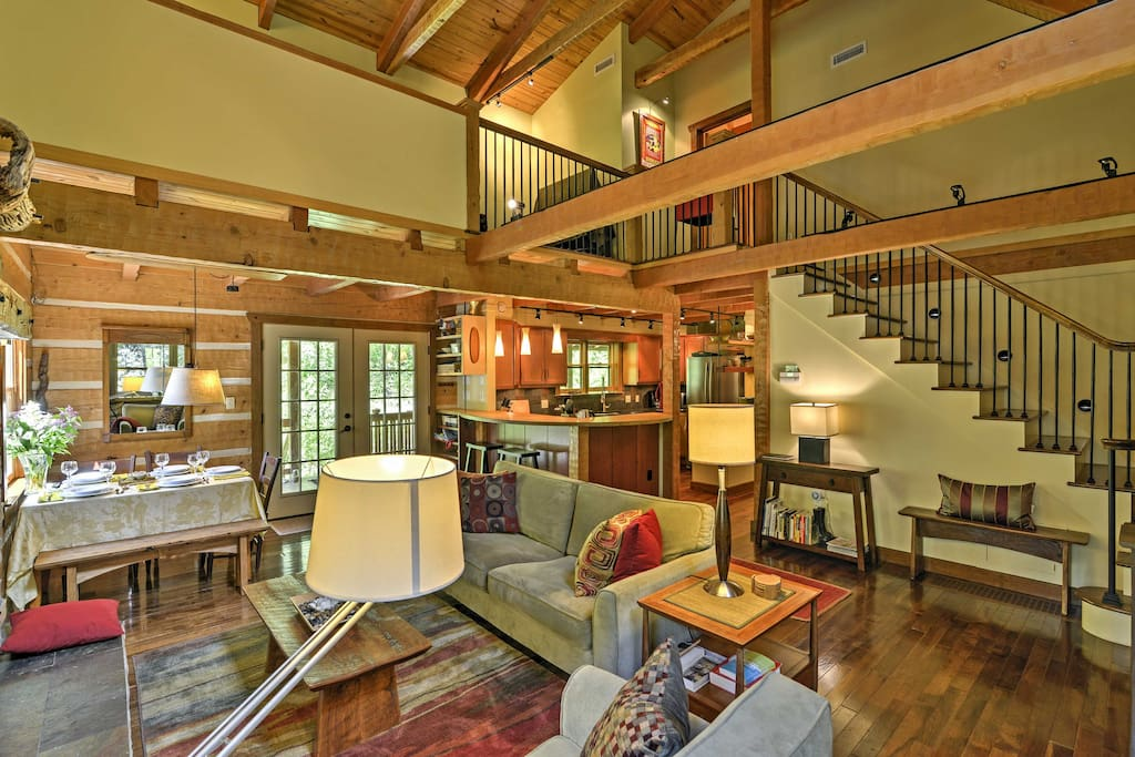 The Appalachian-style log home features a wide open living space that will ensure no one misses out on the conversation.