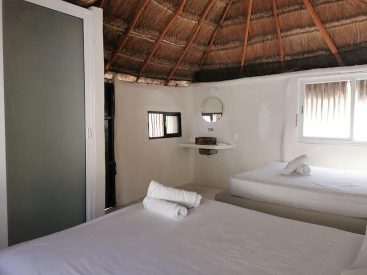 Premium Bungalow 2 Queen beds in Tulum's beach